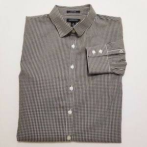 LANDS END Womens Black Checked Blouse